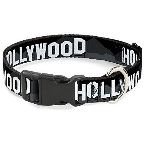 Buckle-Down Plastic Clip Collar - HOLLYWOOD Sign Skyline Black/Grays/White - 1