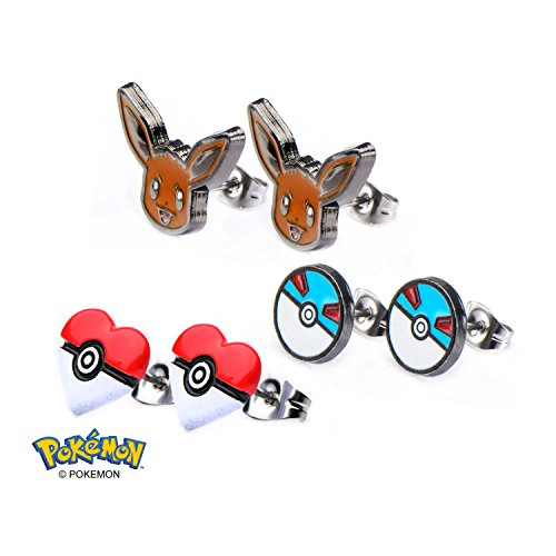 POKEMON Earrings - MANY Styles - Officially Licensed - Gotta catch 'Em All (Eevee-Pokeball-3Pack)