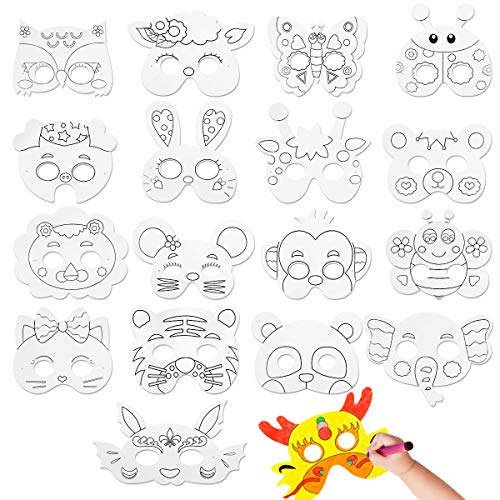 CIEOVO 18Pcs Kids DIY Blank Graffiti Masks Children Paper Masks to Decorate Bulk DIY Animal Craft Mask for Parties/Cosplay/Halloween/Kids' Hand Painting Art Crafts,18