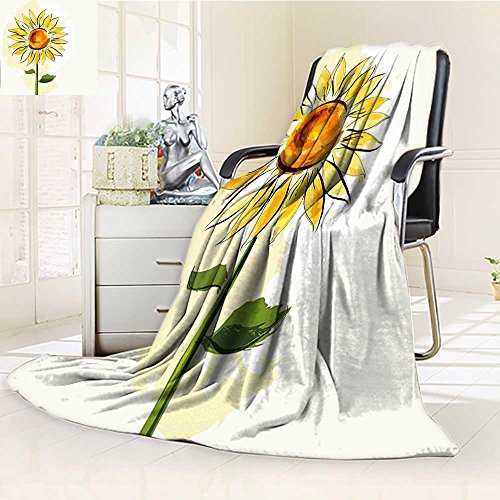 AmaPark Digital Printing Blanket Flower Sunflower in Soft Pastel Toned Petals Fern Green Earth Yellow Summer Quilt Comforter