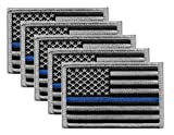 5 Pack - US Flag Thin Blue Line Velcro Patch, Grey on Black, for Police and Law Enforcement. Sold by UNIFORM WORLD