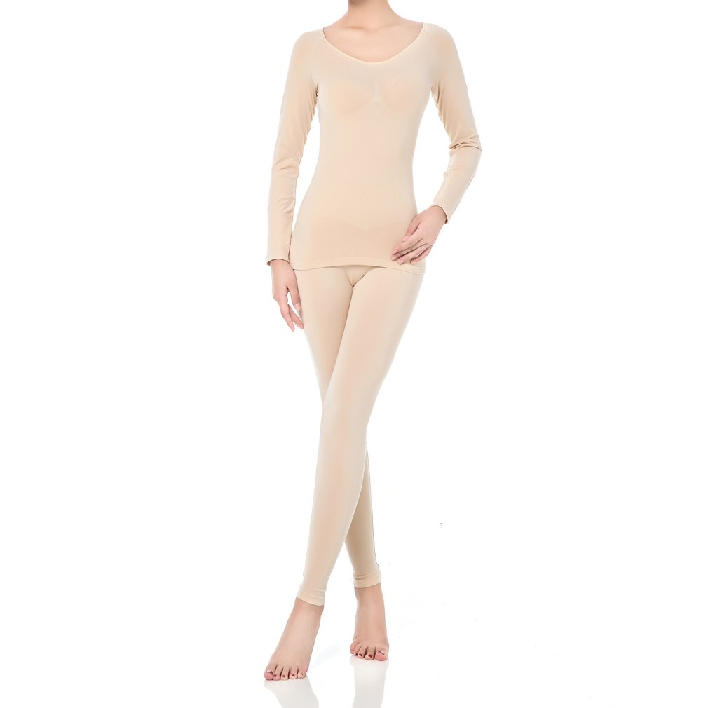 Fimage Women's Croop Neck Partial Terry Thermal Underwear Set of 2 Top & Bottom Long Johns Beige L