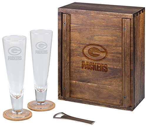 PICNIC TIME NFL Green Bay Packers Acacia Wood Pilsner Beer Glass Gift Set for Two