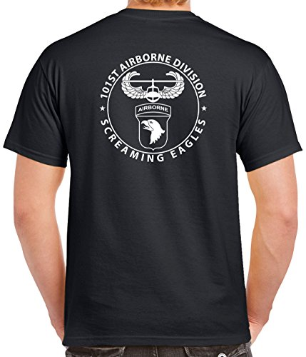 Pro Art Shirts Men's 101st Airborne 2 Sided T-Shirt Medium Black - 101st Airborne Shirts