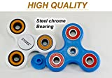 Spinner Fidget Stress Reducer Premium Bearing 15 Colors for Kids & Adults by ZTOZZ (Blue+Black S)