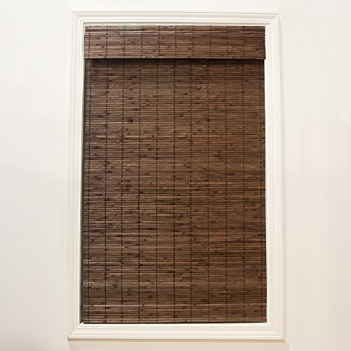 RADIANCE Cordless Dockside Flatstick Bamboo Roman Shade, 27 in. W x 64 in. L, Cocoa (For 27 Windows Shades Roman)