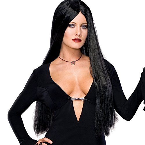 (Rubies Costume Co Adult Morticia Addams Costume Wig,Black,One)