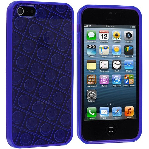 Accessory Planet(TM) Purple Happy Face TPU Rubber Skin Case Cover Accessory for Apple iPhone 5 / 5S