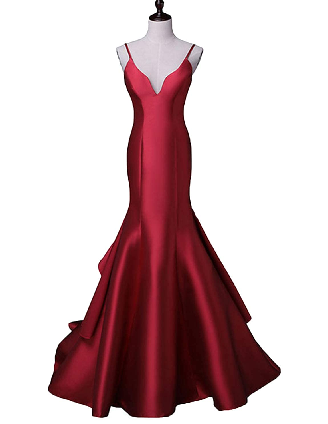 Burgundystraps Scarisee Women's Sweetheart Mermaid Prom Evening Party Dresses Tiered FormalSA51