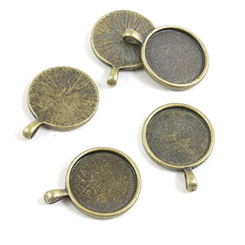 40 Pieces Breloques Jewelry Making Supply Charms Findings Bronze Tone M5JB5 Round Cabochon Base Blank 18mm