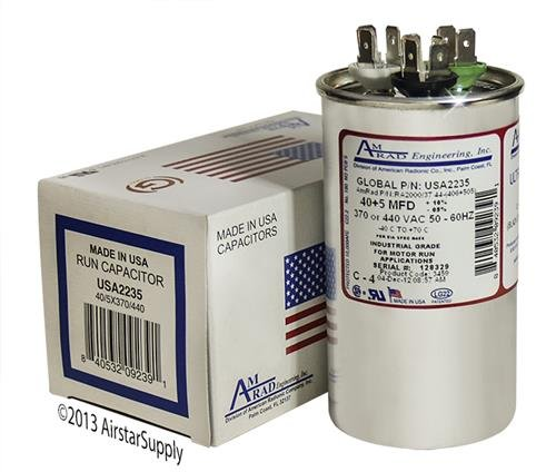 (2) Pack - Goodman CAP050400440CT - 40 + 5 uf / Mfd 370 / 440 VAC AmRad Replacement Round Dual Universal Capacitor - Made in the U.S.A. by AMRAD (Image #4)