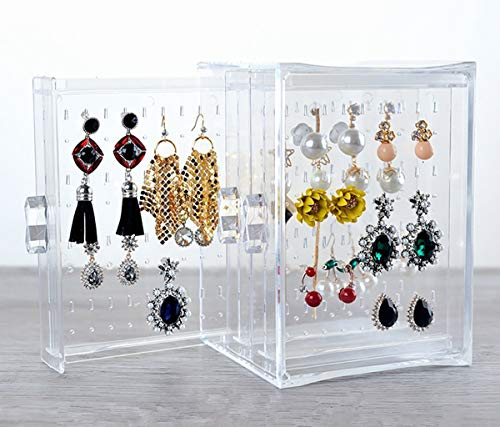 RISINGSUN Earrings Storage Acrylic Box Hanger Acrylic Display Ring Necklace Bracelet Case Decor Clear Transparency 3 Rows Studs Holder for Women Girls Birthday -
