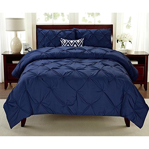 3pc Girls Indigo Full Queen Abstract Pintuck Pinched Pleat Patterned Comforter Set, Navy Shabby Chic Tuffted Adult Bedding Master Bedroom French Country Vibrant Colorful Elegant, Polyester by D&D