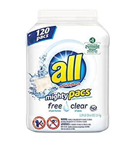All Mighty Pacs Free & Clear Laundry Detergent Hypoallergenic Powerful 120 ct - New!!!
