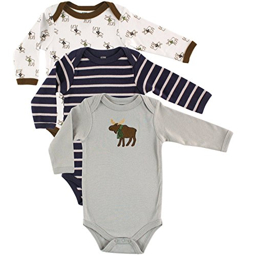 Hudson Baby Unisex 3 Pack Long Sleeve Bodysuits, Moose, 0-3 Months