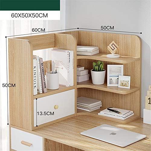 卓上収納 上置き棚 Officeのデスクトップ本棚カウンタートップ本棚付き引き出しデスクストレージオーガナイザー表示棚ラックは、キッチンバスルームメイク用品 本立て 卓上本棚 (Color : A, Size : 60x50x50CM)