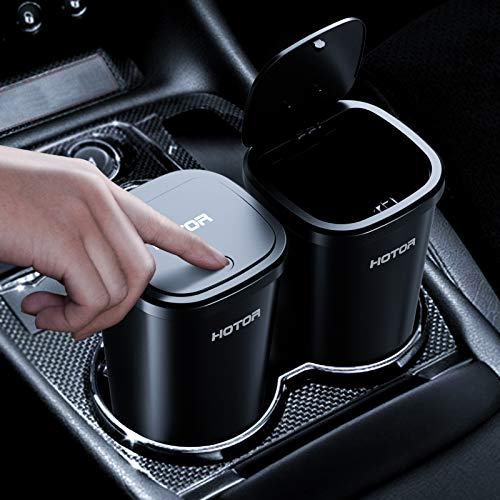 Car Trash Can, HOTOR Car Trash Cup with 30 Additional Car Trash Bags for Exclusive Using, Multipurpose Trash Can for Car, Office & Home to Meet Various Needs – 2 Packs