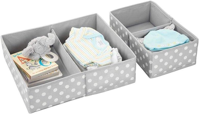 mDesign Juego de 2 cajas de almacenaje para cuarto infantil y ropa de bebé – Cesta organizadora plegable en 2 tamaños – Organizador de armarios de fibra sintética transpirable – gris y blanco: Amazon.es: Hogar