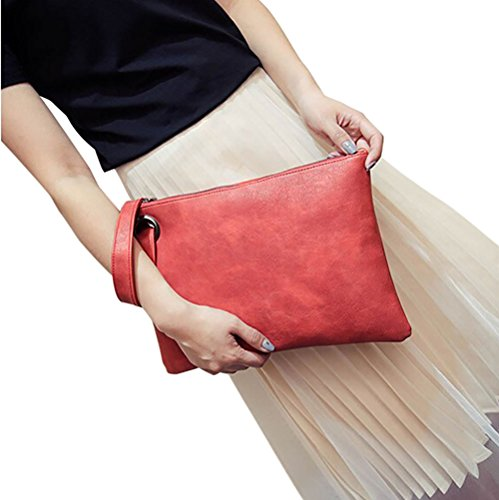 Closure Red with a Purposefull Strap Zipper with Clutch hand Leather Bag Made from Women's Wrist Fashion strap PU xqTfwq6OF
