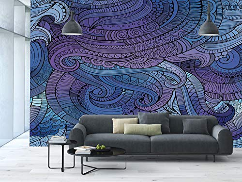 Large Paisley Wallpaper - iPrint Large Wall Mural Sticker [ Abstract,Ocean Inspired Graphic Arabesque Paisley Swirled Hand Drawn Ethnic,Purple Blue ] Self-Adhesive Vinyl Wallpaper/Removable Modern Decorating Wall Art
