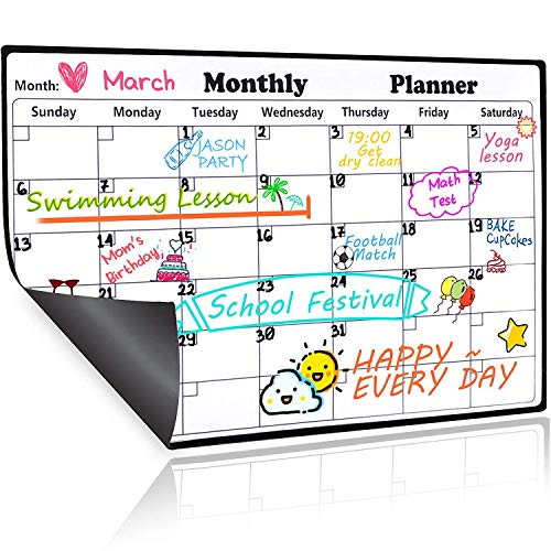 Magnetic Dry Erase Calendar for Refrigerator, 2019-2020 Monthly Planner Fridge Calendar Kitchen Magnets Large Whiteboard Erasable Meal Planner Grocery List Organizer 16.9 by 11.8inches