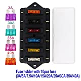 EEFUN 6 Way Car Standard Blade Fuse Holder Box (Apply to 1~40 AMP), Block with 10pcs Free Blade Fuse (3A/5A/7.5A/10A/15A/20A/25A/30A/35A/40A), Auto Fuse Block for Car/Boat/Marine/Trike