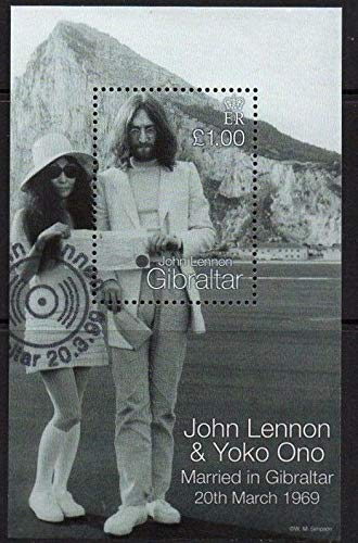 John Lennon and Yoko ONO Wedding - Beatles - Beautiful Collectors Stamps - Gibraltar