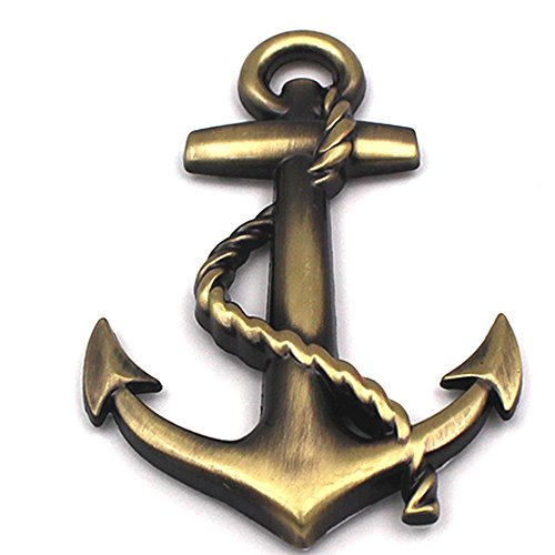 COGEEK 3D Metal Personality Car Stickers Boat Anchor Hooks Navy Emblem Grill Cross Badge Pirate Ship Car Styling (Badges Hook)