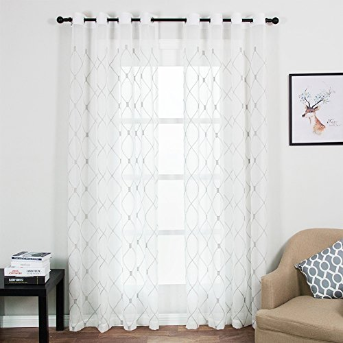 Art Deco Room (Top Finel Embroidered Diamond Plaid Sheer Curtains Window Curtain Panels For Living Room Bedroom 54-inch Width X 96-inch Length,Grommets,Set of 2,Grey)