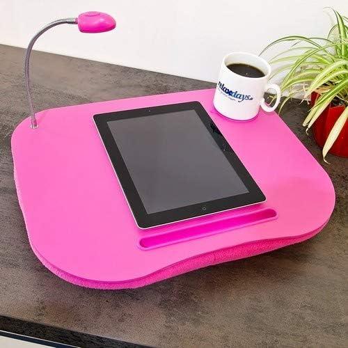 grau mit Getränkehalter 10012569 tragbar LED-Licht flacher Lapdesk weiches kleines Schosstablett Relaxdays Laptopkissen mit Getränkehalter