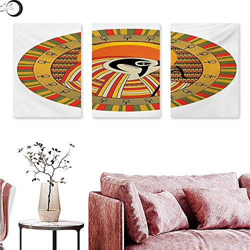 Mannwarehouse Egyptian Wall Decoration Ancient Egyptian Sun Figure in Colorful Design Spirit Animal Culture Illustration Wall Painting Multicolor W 20