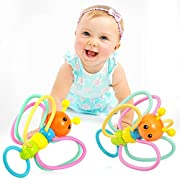 Grasping Rattles Teether, Babylian Silicone Bee Grasping Rattles with Infant Teether, Massaging Sore Teething Gums, Intelligence Rattles and Teething Toys for More Than 3 Months Old Babys. (Bee)