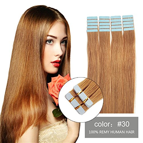 SHOWJARLLY Seamless Remy Tape in Hair Extensions Real Human Hair 16inch Straight #30 Medium/Light Auburn Tape on Skin Weft Hair Extensions (30g,20Pcs)