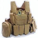 ATAIRSOFT 800D Heavy Duty Tactical Airsoft MOLLE Combat Vest DE Tan w/ pouch
