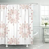 Light Pink and Gold Shower Curtain Emvency Shower Curtain Pink Blush Rose Gold Large Floral Lace Toile Announcement Baby Waterproof Polyester Fabric 72 x 72 inches Set with Hooks