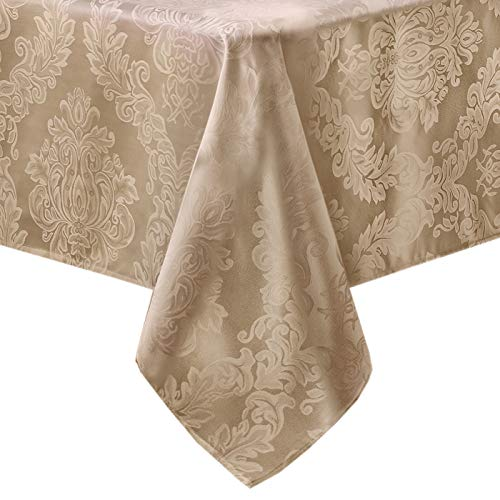 Oval Fabric Tablecloth - Newbridge Barcelona No-Iron Soil Resistant Fabric Damask Tablecloth - 60 X 84 Oval - Golden Beige