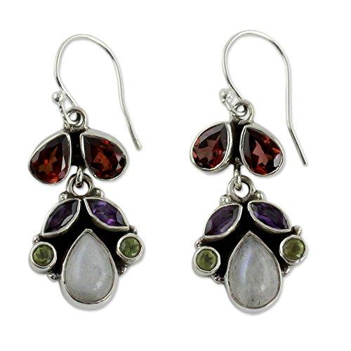 NOVICA .925 Sterling Silver Multi-Gemstone Chandelier Earrings with Garnet and Moonstone, Rainbow'