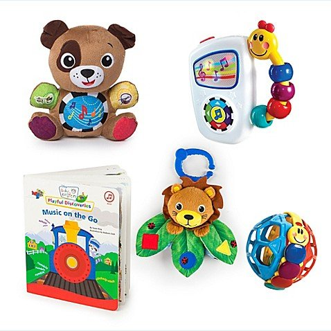 Ball Music Book - Baby Einstein Discovering Music Gift Set Bundle, Includes Take Along Tunes, Press & Play Pal Puppy, Bendy Ball, Cover & Go Lion And Music On The Go Board Book!
