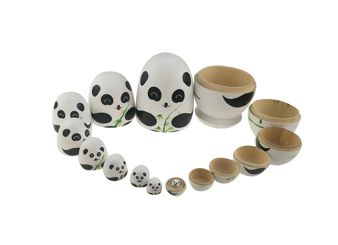 Apol Cute Panda With Bamboo Egg Shape Handmade Wooden Russian Nesting Dolls Matryoshka Doll Set 10 Pieces in a Exquisite Gift Box With Bow For Home Decoration Kids Toy Christmas Birthday Easter Gift by Apol (Image #7)