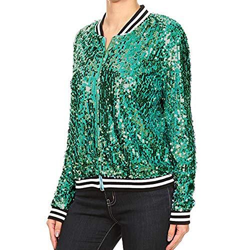 (Dimanul✿ Sequin Jacket Women Tops Biker Jacket Bomber Jacket Women Fashion Long Sleeve Zip Jacket Coats Thin Jacket)