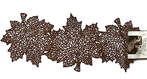 Maple Leaves-Dark Bronze, 14x36 36.5cmX91cm Benson Mill Fall Thanksgiving Harvest TIME Pumpkin Maple Leaf Pressed Vinyl Table Runner Decorative Centerpiece