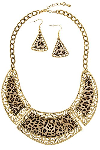 Trendy Fashion Jewelry Animal Print with Filigree Framed Bib Necklace Set By Fashion Destination (Necklace Animal Set Print)