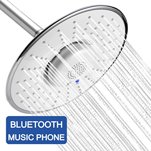 Chrome Self Cleaning Range (YOO.MEE Bluetooth Fixed Shower Head with Waterproof Bluetooth Speaker- V3.0 w/HD Sound-12 HRS Playing Time- Make Memorable Music Shower- Make and Receive Calls Showering- Luxury Chrome)