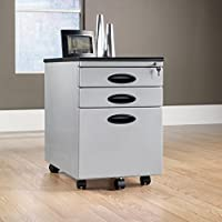 Sauder 18579 Plastic Molded Top Mobile File Cabinet, Silver/Black