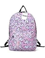 Unicorn Backpack for Girls, Tezoo 3D Unicorn Print Multi Color Rainbow Unicorn Backpack, School College Bag for...