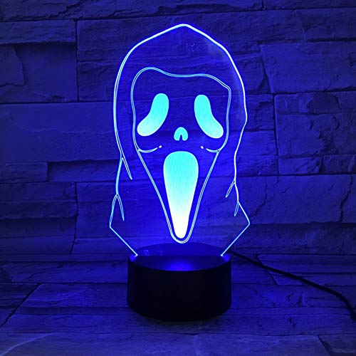 WFUBY Night Light 3D Illusion Led Night Light Lamp Grimace Horrifying Novelty Lights Home Halloween Decoration Kids Child 3D Lamp -