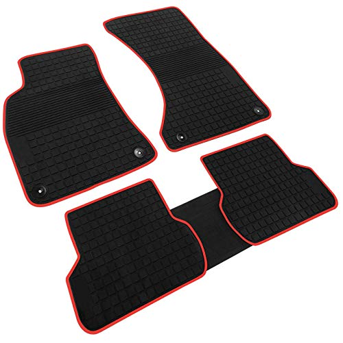 iallauto Compatible for 2016 2017 2018 Audi A4 Heavy Duty Rubber Front & Rear Floor Mats Liners Vehicle All Weather Guard Black Carpet (Floor Mats Audi A4)