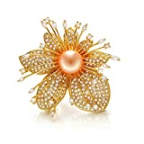 Epinki Jewelry Platinum Plated Brooches for Women Flower Oblate Pearl Brooches