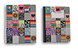 Trendy Text Patterned Notebook Set - 1 Spiral Notebook and 1 Composition Notebook - Wide Ruled