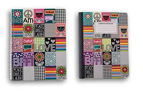 Trendy Text Patterned Notebook Set - 1 Spiral Notebook and 1 Composition Notebook - Wide Ruled by JOT